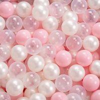 KiddyMoon 90X40cm/300 Balles ∅ 7Cm Piscine À Balles Pour Bébé Rond Fabriqué En UE, Gris Foncé:Rose Poudre/Perle/Transparent