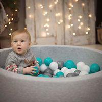 KiddyMoon 90X30cm/200 Balles ∅ 7Cm Piscine À Balles Pour Bébé Rond Fabriqué En UE, Étoiles Blanc-Gris:Turq Clair/Blanc/Transp/Turq