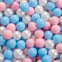 KiddyMoon 90X30cm/300 Balles ∅ 7Cm Piscine À Balles Pour Bébé Rond Fabriqué En UE, Étoiles Blanc-Gris:Babyblue/Rose Poudré/Perle