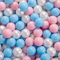 KiddyMoon 90X30cm/200 Balles ∅ 7Cm Piscine À Balles Pour Bébé Rond Fabriqué En UE, Gris Clair:Baby Blue/Rose Poudre/Perle