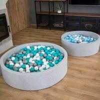 KiddyMoon 120X30cm/1000 Balles ∅ 7Cm Piscine À Balles Pour Bébé Rond Fabriqué En UE, Gris Foncé:Blanc-Gris-Noir-Or
