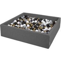 KiddyMoon 120X30cm/600 Balles ∅ 7Cm Carré Piscine À Balles Pour Bébé Fabriqué En UE, Gris Foncé:Blanc-Gris-Noir-Or