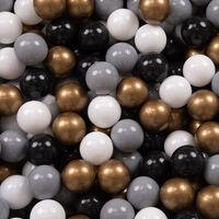 KiddyMoon 120X30cm/1000 Balles ∅ 7Cm Carré Piscine À Balles Pour Bébé Fabriqué En UE, Gris Foncé:Blanc-Gris-Noir-Or