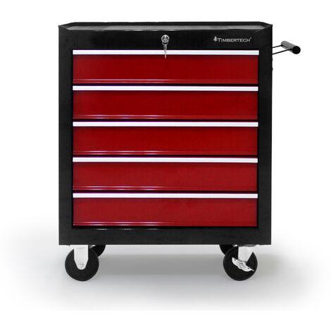Chariot d'Atelier Servante à Outils Caisse à Roulettes 5 Tiroirs Verrouillable 61,5 x 33 x 77,5 cm en Acier Rouge-Noir