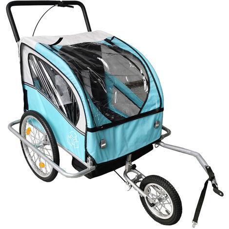 Remorque Vélo pour Enfants Jogger 2 en 1 Charge max. 40 kg Poussette Remorque de Bicyclette Enfant Pliable Bleu