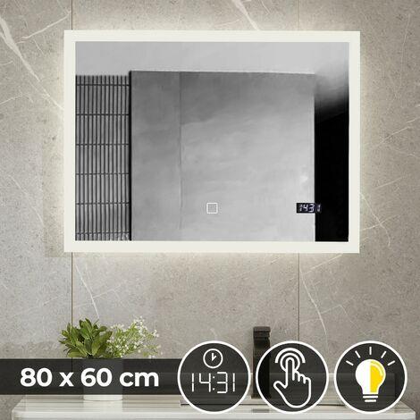 Miroir de Salle de Bain LED Lumineux Tactile Mural CEE: A++ Horloge Miroir Lumineux Éclairage Blanc Froid ou Chaud 80 x 60 cm