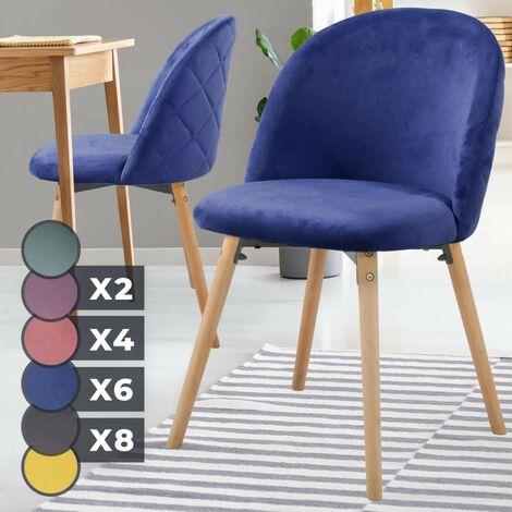 Chaise Scandinave Style Moderne Contemporain Vintage en Velours Pieds en Bois Hêtre Salle à Manger Cuisine Salon Bleu-Lot de 2