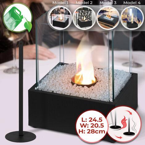 Cheminée Éthanol de Table | Mobile, 24.5 x 20.5 x 28 cm, en Acier Inoxydable, 4 Panneaux en Verre, avec Pierres Décoratives
