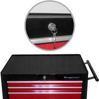 Chariot d'Atelier Servante à Outils Caisse à Roulettes 7 Tiroirs Verrouillable 61,5 x 33 x 77,5 cm en Acier Rouge-Noir