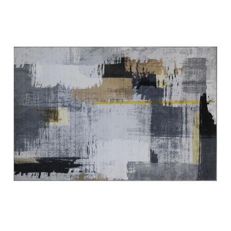 Tapis de salon en velours avec motifs abstraits jaune/gris et noir 80X120CM