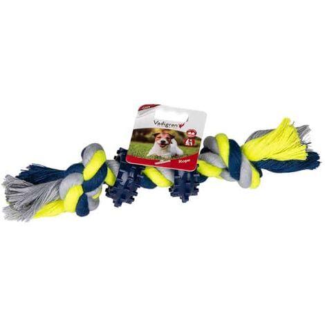Corde coton 2 noeuds 2 anneaux bleu-jaune 30g 16cm
