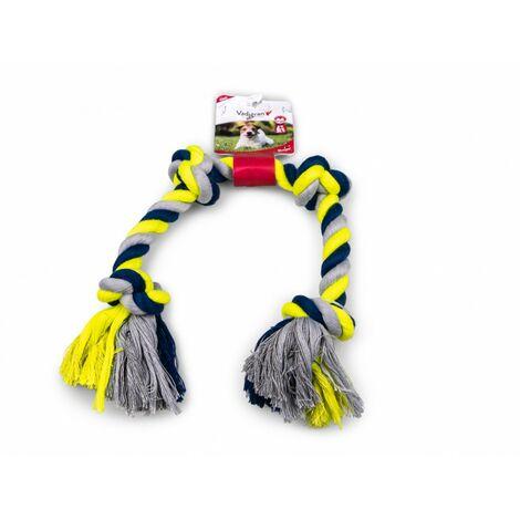 Corde coton 4 noeuds bleu-jaune 260g 58cm