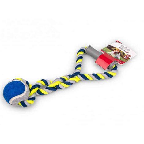 Corde coton+poignee plastique+balle bleu-jaune190g