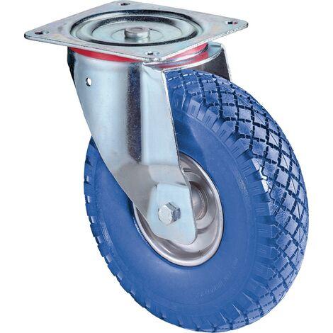 Roulette de renvoi Ø de la roue 260 mm Capacité de charge 1 avec plaque de fixation Corps de roue ac polyuréthane bleu