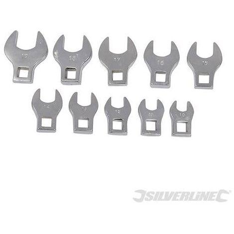 10 embouts clés plates pour carré 3/8 10 à 19 mm Silverline