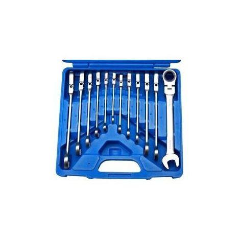 Coffret 12 pièces, clés plates cliquet articulées