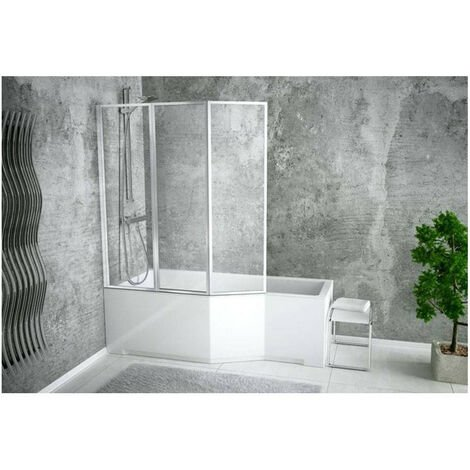 Baignoire asymétrique INTEGRA 150/170 cm x 75 cm + pare baignoire - Angle: Gauche - Dimensions: 150cm - Blanc