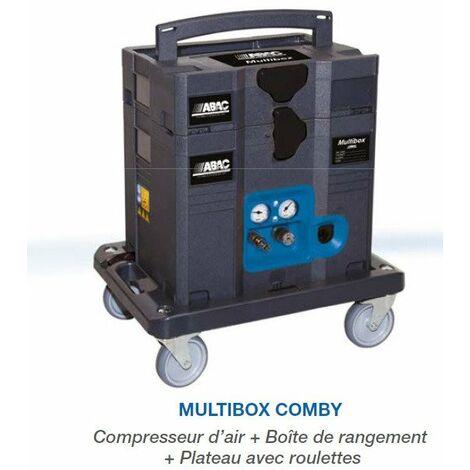 Promotion - ABAC – Compresseur sans huile sur plateau déplaçable MULTIFONCTION en Box 6l 160L/min 9.6m3/h 8 bar - MULTIBOX Compy
