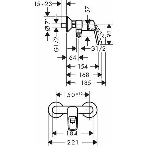 Déstock - Hansgrohe - Mitigeur douche Logis Loop C2 avec cartouche 2 vitesses finition chromé