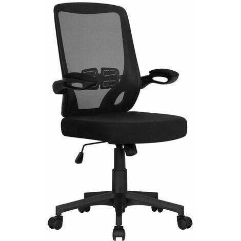 Yaheetech Chaise de Bureau Ergonomique à Roulettes Fauteuil pour Ordinateur Inclinable avec Accoudoirs Pliables Tissu en Maille Hauteur Réglable Noir - Noir
