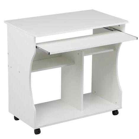 Yaheetech Meuble Bureau Informatique pour Ordinateur à roulettes avec Grand Support Clavier Coulissant, 4 étagères Blanc - Blanc