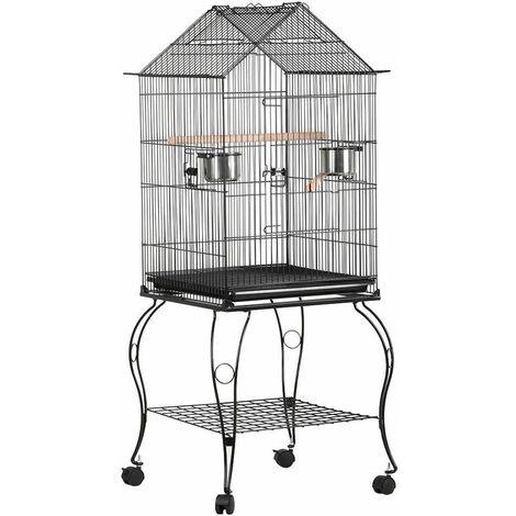 Yaheetech Cage pour les Oiseaux 59 x 59 x 145 cm Cage sur Roulettes Canaries Perruches Canaris Calopsitte Inséparable Petit Mandarin