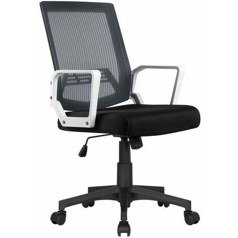 Yaheetech Chaise de Bureau à Roulettes Maille Mesh Fauteuil Ordinateur Inclinable Pivotante avec Accoudoir Dossier Capacité 125kg Gris - Gris