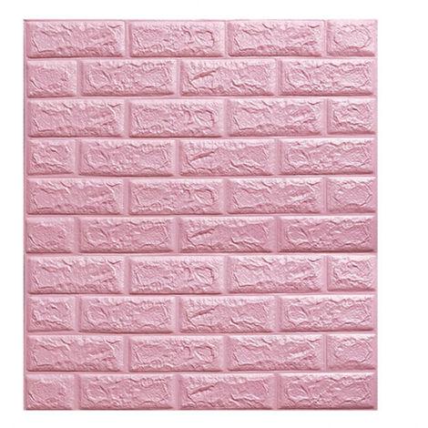 10pcs Papier Peint Antisonore Panneau Autocollant Mural Brique 3D Auto-adhésif Mousse Imperméable Rose 70*77cm