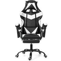 Chaise Gaming avec Repos-pieds Fauteuil Gaming Chaise de Bureau Ergonomique Pivotant 150°Blanc