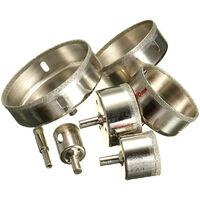 7 pièces argent 10-100mm diamant scie trou foret ensemble tuile céramique verre porcelaine marbre trou scie coupeur facile à utiliser