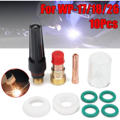 Kit de juego de boquillas de alúmina de cuerpo de collar de lente de gas Tig de 10 piezas / juego para Wp-17/18/26 antorcha Tig de soldadura Hasaki