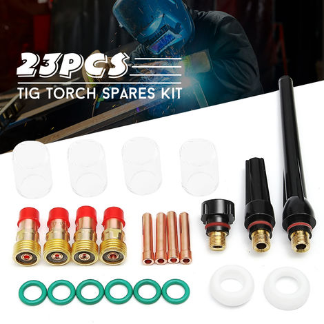 23 piezas alicates de antorcha de soldadura Tig Boquilla de lente de gas Kit de piezas de vasos de vidrio Pyrex para Sp Wp-17/18/26 Hasaki