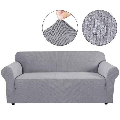 Funda de sofá de 3 plazas impermeable elástica Funda de sofá gris claro
