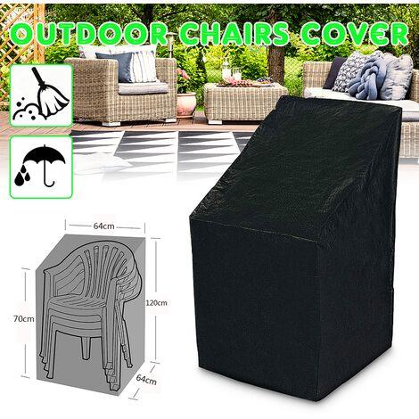 190T PE Funda impermeable para silla para jardín al aire libre, muebles de patio, suciedad, lluvia, protección, escarcha, hielo, protección solar, protección contra la nieve (tamaño: 64x64x120 / 70cm) Hasaki