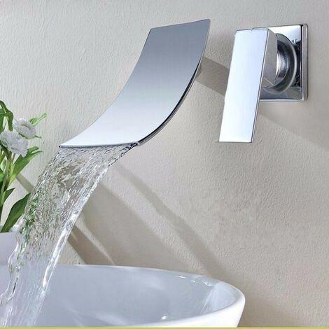 Chromed Bathroom Sink Basin, Waterfall Wall-mounted Mixer Tap, Length 19Cm Hasaki