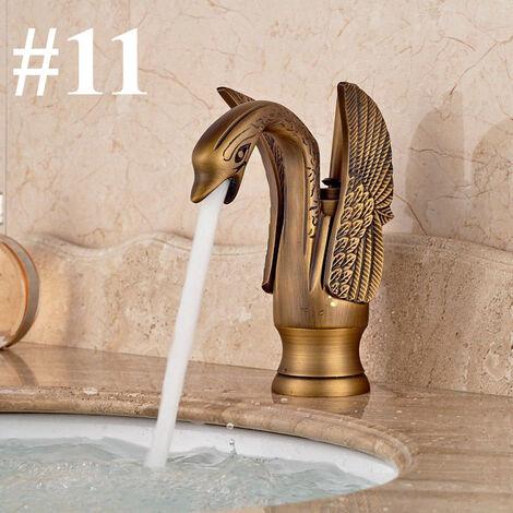 Swan Design Spout Bathroom Basin Mixer Taps oldgold