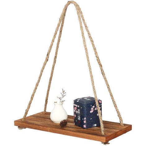 Wall Hanging Shelf Wooden Pearl Tassels Storage Rack Wall Rope Hanging Shelf Bedroom Decor 1 Level Hasaki