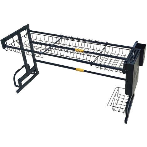Dish Drying Rack 50*32*(65-93)cm Black Over Sink Drainer Shelf Kitchen Storage & Organization Holders