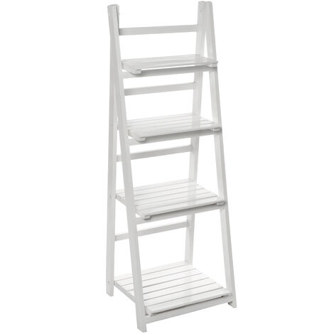 Folding Plants Stand 4 Tier Ladder Shelf Wood Bookshelf Storage Rack Home Deco 42x35x113cm White