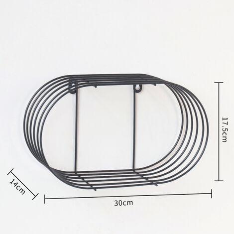 Metal Iron Hanging Shelf Wall Shelves Storage Home Decor Organizer black 30*17.5*14cm