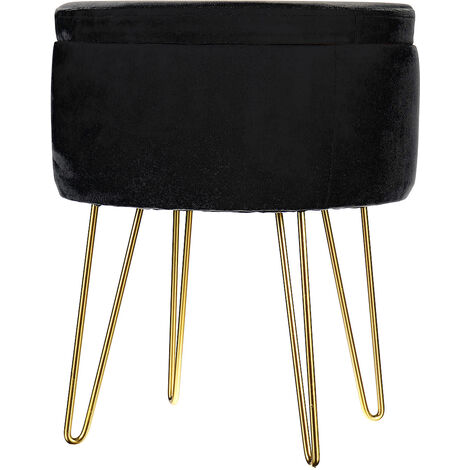 Velvet Storage Footstool Ottoman Footrest Makeup Dressing Table Stool 36x36x41cm Black