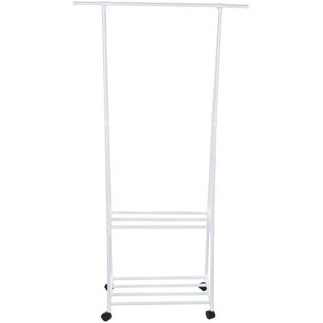 3 IN1 Metal Closet Organizer Wardrobe Shelves Kit Clothes Storage Rack white