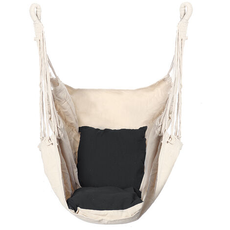 Hammock Swing Hanging Chair with 2 Cushions Rope Wooden Beige+black