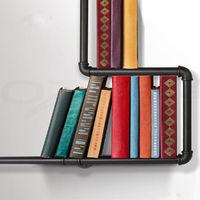 Urban Style Industrial Iron Steel Black Pipe Book Shelf Storage Shelf Decor Hasaki