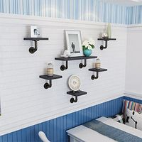 2Pcs Industrial Black Iron Pipe Shelf Support Honder Floating Wall Shelf (Not Included Wood Plank) Hasaki