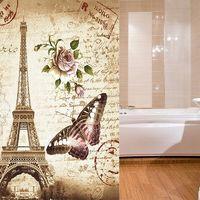Waterproof Eiffel Tower Shower Curtain + 12 Hooks 180x200cm Hasaki