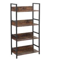 4-Tier Bookshelf Storage Rack Industrial Style 124*30*63.5cm Ladder Shelf Stand