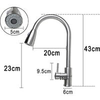 Swivel Spout Spray Kitchen Sink Swivel Faucet Pull Out Sprayer Mixer Tap
