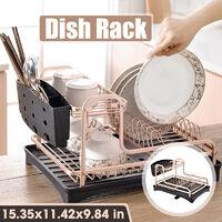Aluminium Dish Drainer Rack Bowl Washing Plates Cutlery Draining Board Holder Cup 39x29x25cm