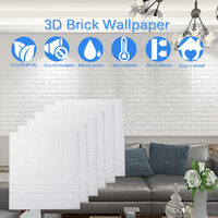 3D Wallpaper DIY Wall Stickers Foam Embossed Brick Stone Wallpaper white Pack of 10